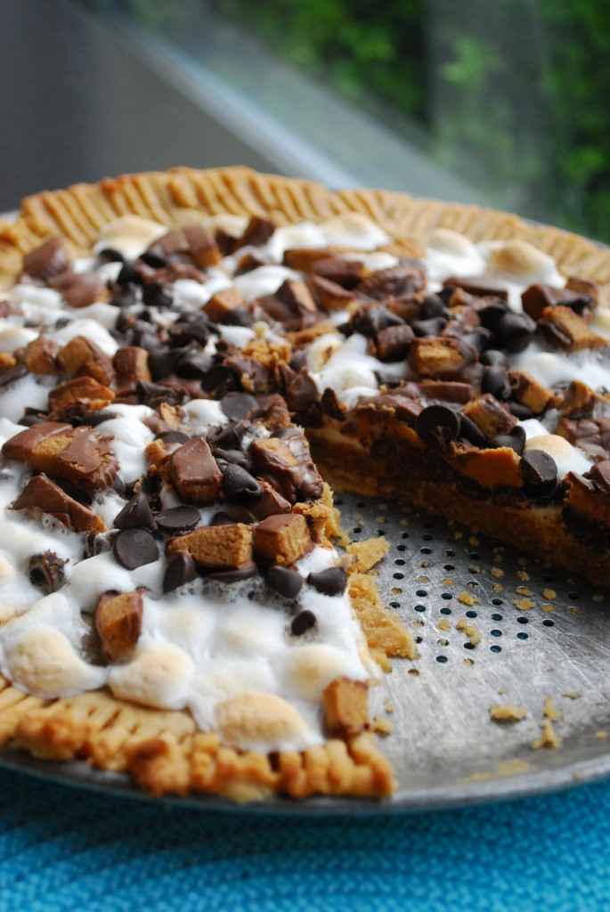 Delicious peanut butter and chocolate cookie pizza