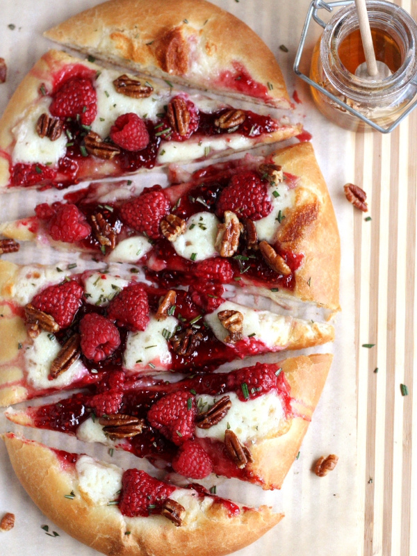 Raspberry Brie with Rosemary and Candied Pecans Dessert Pizza for dessert