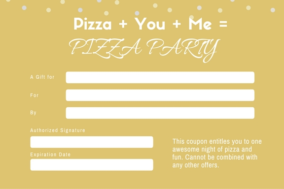 Pizza Party Coupon Template