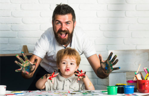 dad-and-son-finger-painting