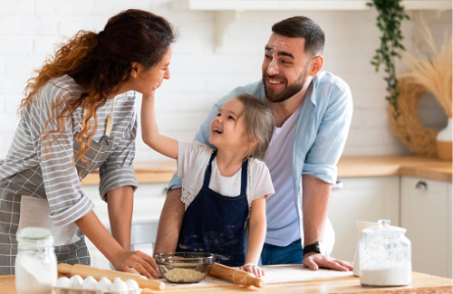 family-baking-together